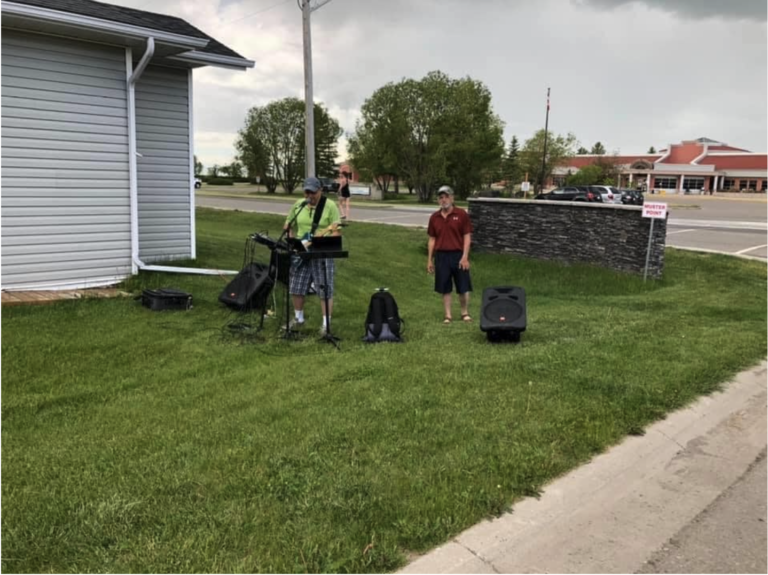 One of our communities in Claresholm, Alberta received live music.